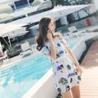 Short-sleeve Printed Swim Dress