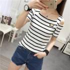 Short-sleeve Cutout Shoulder Striped Top