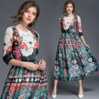 Floral Chiffon A-line Midi Dress