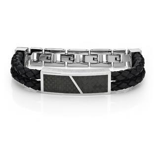 Cross Leather Bracelet (black) Black - One Size
