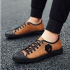 Genuine-leather Applique Panel Sneakers