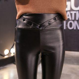 Faux-leather Fleece-lined Pants