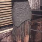 Fringed-hem Pattern Pencil Skirt