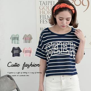 Short-sleeve Striped Lettering T-shirt