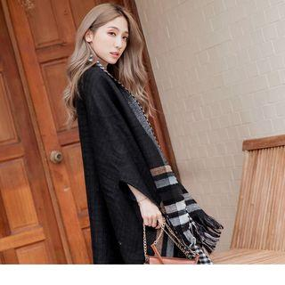 Convertible Plaid Scarf Black - F