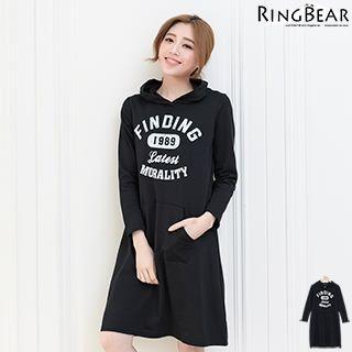 Long Sleeve Printed Hooded Dress