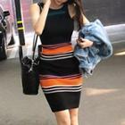 Sleeveless Striped Mini Bodycon Knit Dress