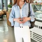 Long-sleeve Embroidered Denim Blouse