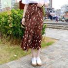 Frill-hem Floral Long Surplice-wrap Skirt