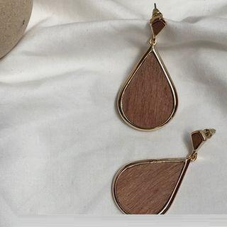 Wooden Drop Earring Earrings - Brown - One Size