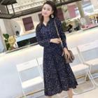 Printed Tie Waist Long-sleeve Midi Dress