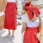 Colored Linen Blend Midi Skirt