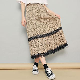Lace Trim Floral Print Midi Skirt