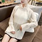 Stand Collar Chiffon Long-sleeve Top Almond - One Size