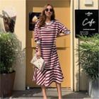 Drop-shoulder Ruffle-hem Stripe Dress