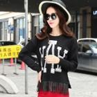 Long-sleeve Fringed Knit Top