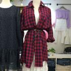 Plaid Oversized Shirt Red - One Size