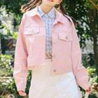Buttoned Denim Jacket Pink - One Size