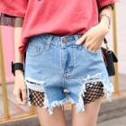 Distressed Fishnet Denim Shorts