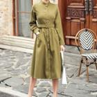 Long-sleeve Belted Midi A-line Shirt Dress