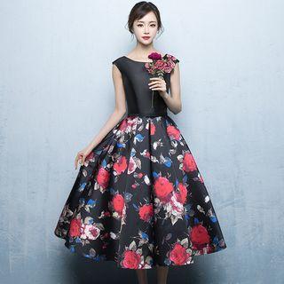 Cap-sleeve Embellished Floral-print Midi Prom Dress