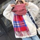 Fringed Plaid & Houndstooth Scarf