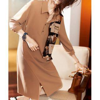 Long-sleeve Graphic Panel A-line Shirtdress