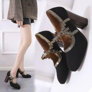 Chunky Heel Paneled Mary Jane Sandals