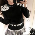 Floral Patterned Knit Top