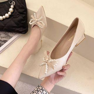 Chunky Heel Faux Pearl Bow Pumps