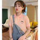 Short-sleeve Peach Embroidered Polo Shirt