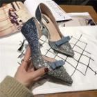 High-heel Sequined Bow-accent Pumps