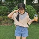 3/4-sleeve Cutout Shoulder Striped Panel Top