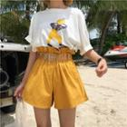 Paperbag Wide Leg Shorts With Belt