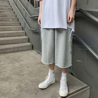 Plain Straight-cut Capri Sweatpants