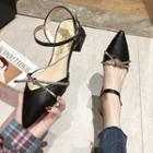 Ankle-strap Chunky-heel Pointy-toe Pumps