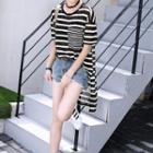 Short-sleeve Striped Tulle Long Top