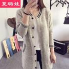 Contrast-stripe Long Knit Cardigan