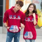 Couple Matching Hooded Print Pullover