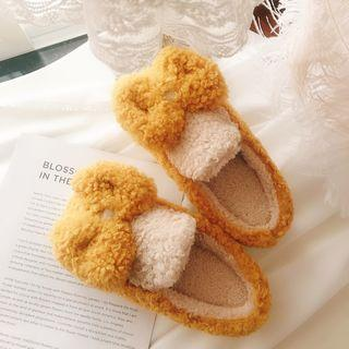 Two-tone Bow Furry Slippers