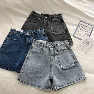 Single Pocket High-waist Denim Shorts