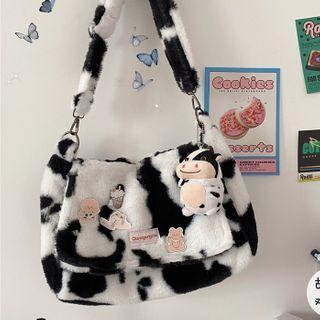 Fluffy Cow Print Messenger Bag