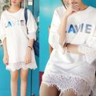 Letter Sequined Lace Trim 3/4 Sleeve T-shirt Dress
