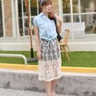 Embroidered Mesh Midi Skirt