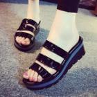 Patent Platform Slide Sandals