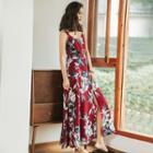 Floral Print Open Back Sleeveless Midi Dress