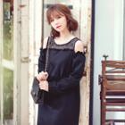 Cutout Lace-panel Shift Dress