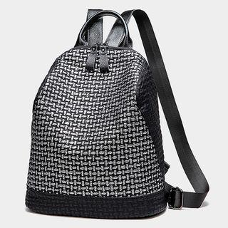 Genuine Leather Houndstooth Backpack Black - One Size