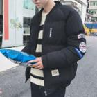Padded Patched Hooded Zip Jacket