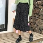 Dotted Accordion Midi Skirt